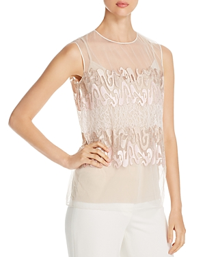 Elie Tahari Kay Sheer Embroidered Top