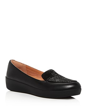 FitFlop - Women's Crystal-Embellished Leather Sneaker Loafer