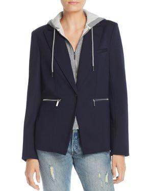 BAGATELLE Twofer Hooded Blazer Jacket in Blue/Gray