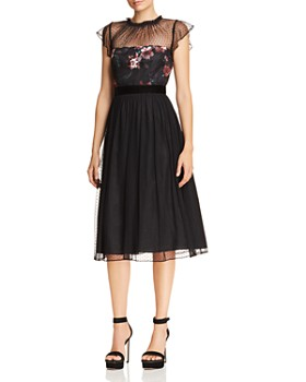 Adrianna Papell - Floral Print & Dot Tulle Flare Dress