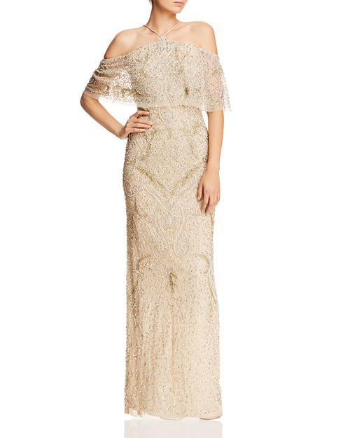 Aidan Mattox Cold-Shoulder Beaded Gown - 100% Exclusive | Bloomingdale\'s