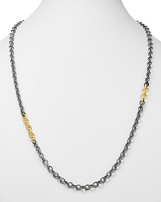 Armenta - 18K Yellow Gold & Blackened Sterling Silver Old World Adjustable Link Necklace, 32""