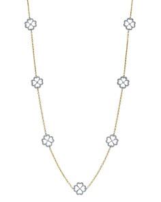 "Gumuchian - 18K White Gold & 18K Yellow Gold G Boutique Pavé Diamond Kelly Motif Station Necklace, 34"""