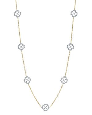 GUMUCHIAN 18K White Gold & 18K Yellow Gold G Boutique Pave Diamond Kelly Motif Station Necklace, 34 in White/Gold