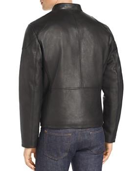 Cole Haan - Zip-Front Leather Moto Jacket