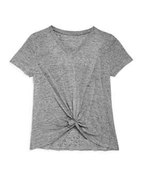 AQUA - Girls' V-Neck Knot-Front Tee, Big Kid - 100% Exclusive