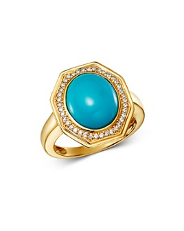 Bloomingdale's - Turquoise & Diamond Octagonal Cocktail Ring in 14K Yellow Gold - 100% Exclusive
