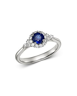 Bloomingdale's - Blue Sapphire & Diamond Delicate Ring in 14K White Gold - 100% Exclusive