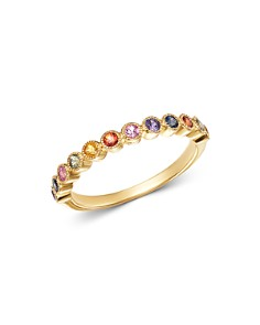 Bloomingdale's - Rainbow Sapphire Delicate Band Ring in 14K Yellow Gold - 100% Exclusive