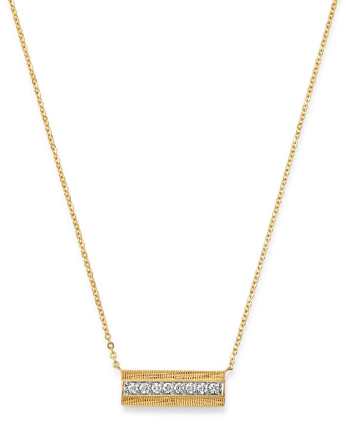 Bloomingdale's Diamond Bar Necklace In 14k Yellow Gold, 0.20 Ct. T.w. - 100% Exclusive In White/gold