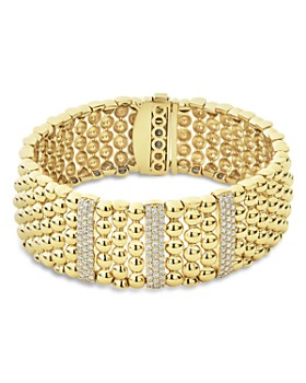 LAGOS - 18K Yellow Gold Caviar Three Pavé Diamond Station Statement Bracelet