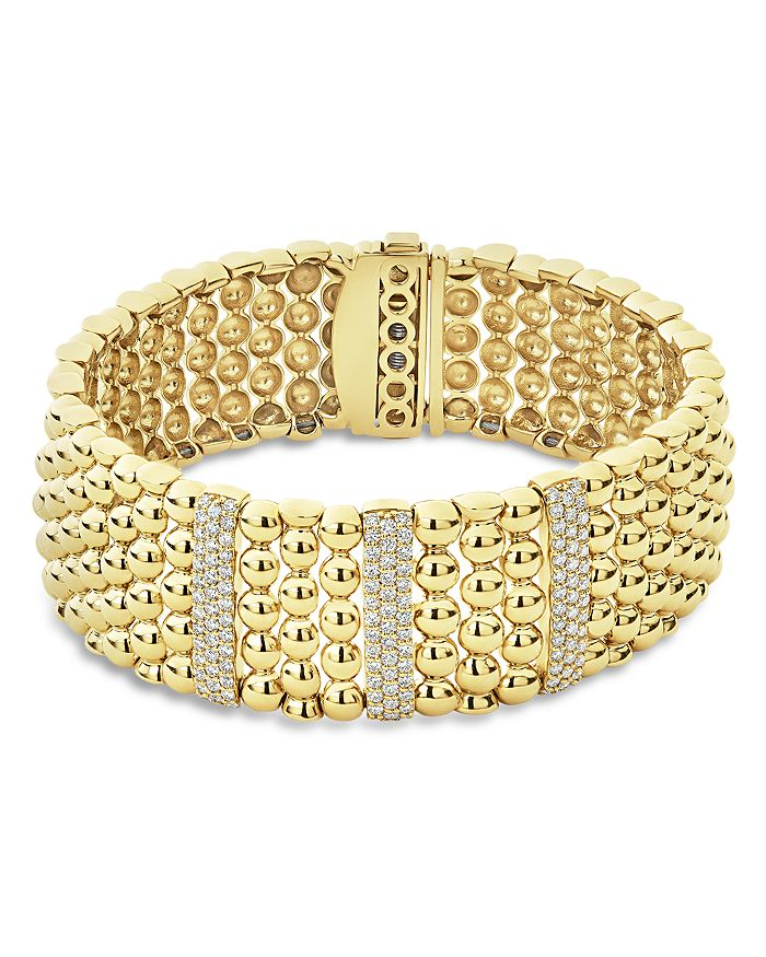 LAGOS - 18K Yellow Gold Caviar Three Pavé Diamond Station Statement Bracelet