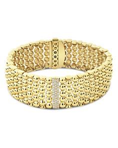 LAGOS - 18K Yellow Gold Caviar One Pavé Diamond Station Statement Bracelet