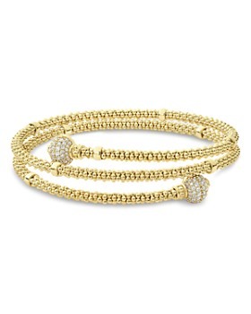 LAGOS - 18K Yellow Gold Caviar Pave Diamond End Cap Coil Bracelet