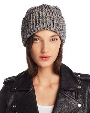 RAFFAELLO BETTINI Marled Rib-Knit Beanie - 100% Exclusive in Black/Gray
