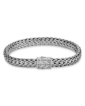JOHN HARDY - Sterling Silver Classic Chain Pavé Diamond Flat Chain Bracelet