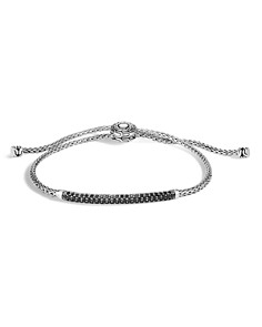 JOHN HARDY - Sterling Silver Classic Chain Black Sapphire & Black Spinel Pull Chain Bracelet