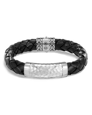 John Hardy Sterling Silver Classic Chain Black Braided Leather Bracelet