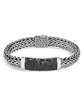 JOHN HARDY - Sterling Silver Classic Chain Black Sapphire Wide Flat Chain Station Bracelet