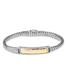 JOHN HARDY - Sterling Silver & 18K Bonded Yellow Gold Classic Chain Black Sapphire Slim Station Bracelet