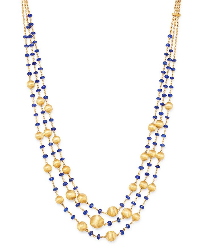 Marco Bicego - 18K Yellow Gold Africa Precious Blue Sapphire Triple Strand Statement Necklace, 17""