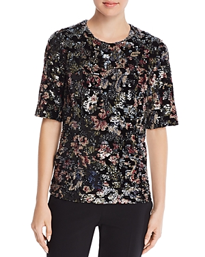 Badgley Mischka Velvet Floral Sequin Top