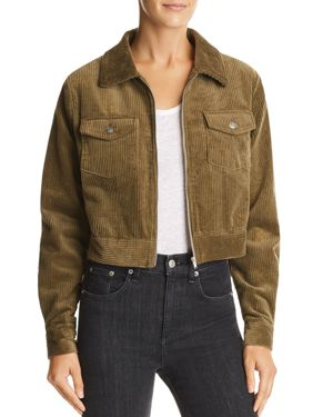 LOST AND WANDER Lost + Wander Cropped Corduroy Jacket in Olive