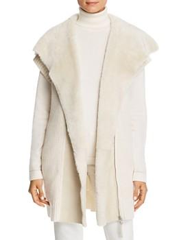 Lafayette 148 New York - Shearling Collar Ribbed Cashmere Vest ... e20d56e39