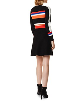 KAREN MILLEN - Striped Fit-and-Flare Dress