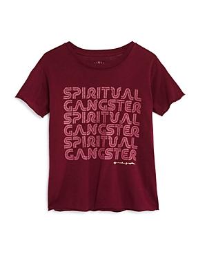 Spiritual Gangster Girls' Retro Shimmer Logo Tee - Big Kid