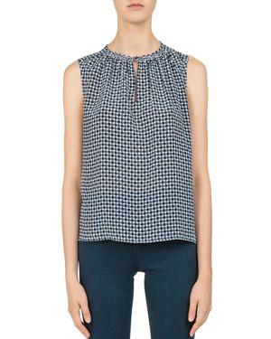Gerard Darel Laure Sleeveless Printed Silk Top