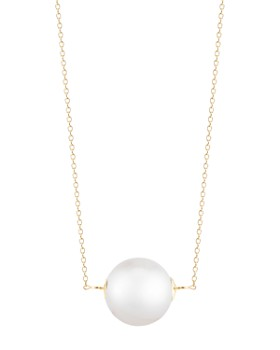 """MATEO - 14K Yellow Gold Suspended Cultured Freshwater Pearl Cable Necklace, 16"""""""