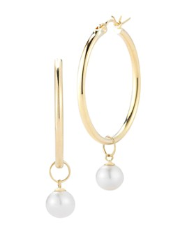 MATEO - 14K Yellow Gold Cultured Freshwater Pearl Detachable Drop Hoop Earrings