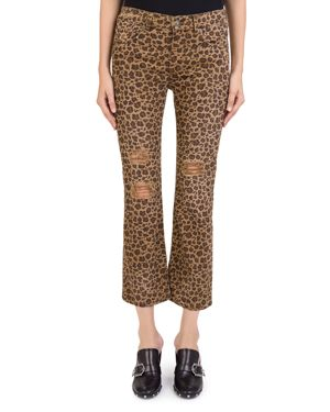 The Kooples Distressed Cropped Jeans in Leopard Chocolate 3050067