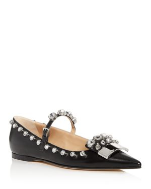 Sergio Rossi Women's Embellished Leather Pointed Toe Mary Jane Flats