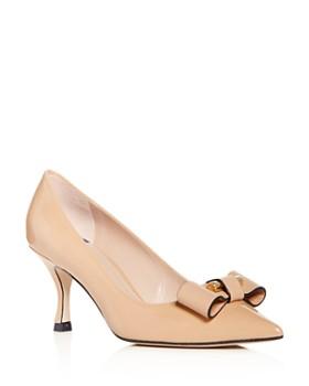 Stuart Weitzman - Women's Belle Pointe Patent Leather Kitten-Heel Pumps