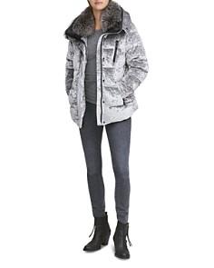 Andrew Marc - Vara Fur Trim Velvet Down Coat