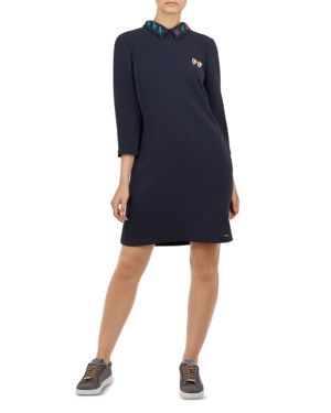Colour By Numbers Delphin Shift Dress in Navy