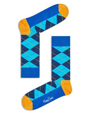 HAPPY SOCKS Contrast Argyle-Print Socks in Blue/ Yellow