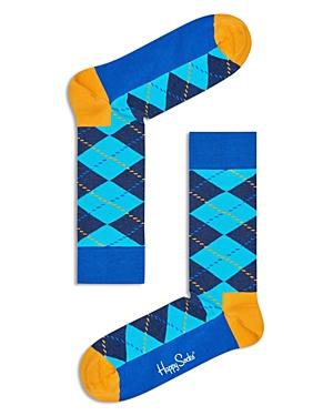 Happy Socks Contrast Argyle-Print Socks