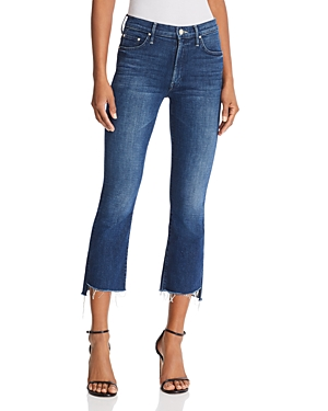 Mother Cottons INSIDER STEP-HEM CROPPED FLARED JEANS IN THE ROYAL TREATMENT
