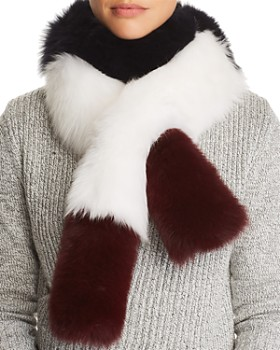 Maximilian Furs - Color-Blocked Fox Fur Pull-Through Scarf - 100% Exclusive