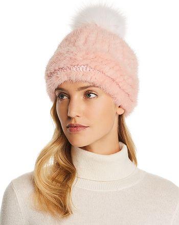 Maximilian Furs - Fox Fur Pom-Pom Knit Mink Fur Hat - 100% Exclusive