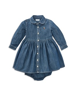 Ralph Lauren - Girls' Long Sleeve Denim Dress & Bloomers Set - Baby