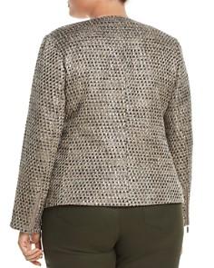 Lafayette 148 New York Plus - Trista Suede-Trimmed Metallic Tweed Jacket