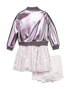 Pippa & Julie - Girls' Metalic Bomber Jacket, Tutu T-Shirt Dress & Bloomers Set - Baby