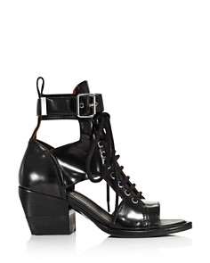 Chloé - Women's Rylee Leather Open-Toe Lace Up Booties