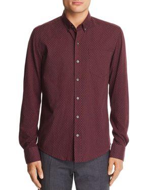 WRK Reworked Dot-Print Slim Fit Button-Down Shirt in Burgandy