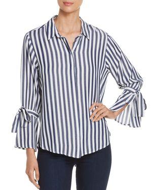 VELVET HEART Laurie Striped Tie-Sleeve Shirt in Indigo White Stripe