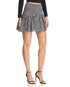 AQUA - Houndstooth Asymmetric Mini Skirt - 100% Exclusive